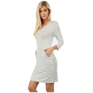 Striped Tee Dress Gray and White 3/4 Sleeve